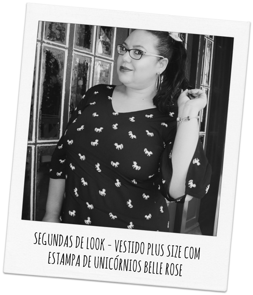 SEGUNDAS DE LOOK - VESTIDO PLUS SIZE COM ESTAMPA DE UNICÓRNIO BELLE ROSE PLUS SIZE